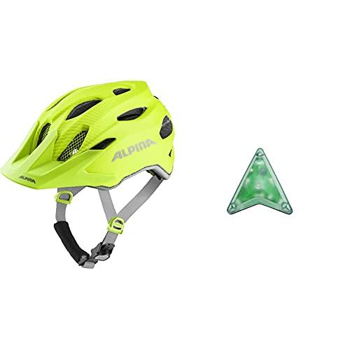 ALPINA Unisex - Kinder, Carapax JR. Flash Fahrradhelm, be Visible matt, 51-56 cm & Unisex - Kinder, Multi-FIT-Light Fahrradhelmlicht, transparent, One Size