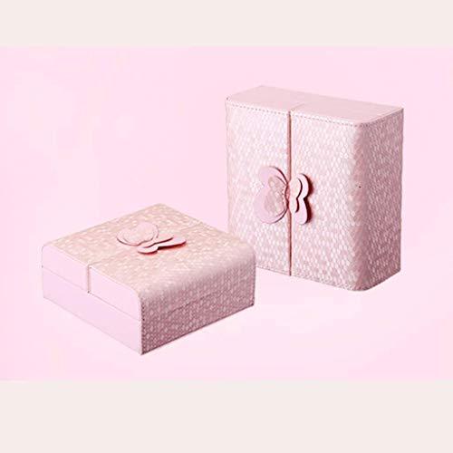 Mr.T Schmuck-Box Schmuck Schrank Kunstleder Schmuckschatulle for Frauen Ohrring-Ring-Behälter-Halter Ketten-Armband-Speicher Aufbewahrungskiste (Color : Pink)