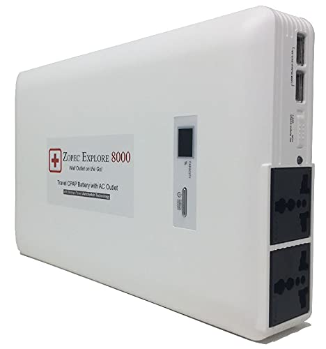 Zopec EXPLORE 8000 Universal CPAP Battery Backup Power Supply (3-4 Nights). Automatic Switch and Uninterrupted Sleep! Only Battery You can Sleep All Night with Humidifier! Works with All CPAP Brands.