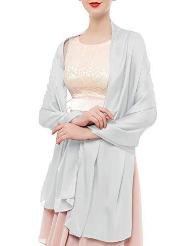 bridesmay Damen Schal Frühling Sommer Stola für Abendkleid Hochzeit Satin Halstuch in 19 Farben 180 * 90cm Weiß Silver Grey