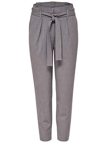 ONLY Damen Hose onlNICOLE Paperbag Ankel Pants WVN - Schwarz - Black, Größe:W 34 L 30, Farbe:Light Grey Melange (15160446)