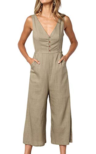 ECOWISH Womens Jumpsuits Casual Button Deep V Neck Sleeveless High Waist Wide Leg Jumpsuit Rompers with Pockets 103 Khaki Large