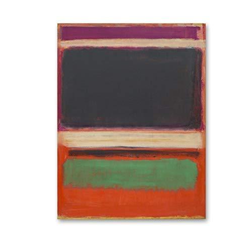 Retro abstracto rojo amarillo colorido maestro pintura al óleo impresión cartel pared arte imagen hogar sin marco lienzo pintura A3 50x75cm