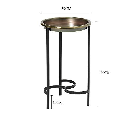 Tables HAIZHEN Pliable Côté Moderne en Fer forgé, de Chevet, Support de Plancher, Plateau en métal Stations de Travail informatiques (Couleur : Bronze Trumpet)