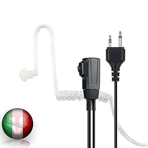 TECHSIDE Microfono Auricolare Pneumatico Trasparente a 2 pin Midland | Per Radio ricetrasmittenti | Compatibile con G7 pro G8 G9 pro M24 M24 plus M48 M99 G6 XT G7 XTR | Vigilanza Sicurezza SoftAir