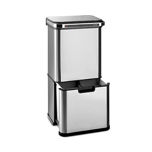Klarstein Touchless Ultraclean - Sensor-Mülleimer, 60 Liter Volumen in 3 Behältern, Ozon-Sterilisation: beseitigt 90% der Bakterien und Viren, OdorControl: mit integriertem Geruchsfilter, Silber