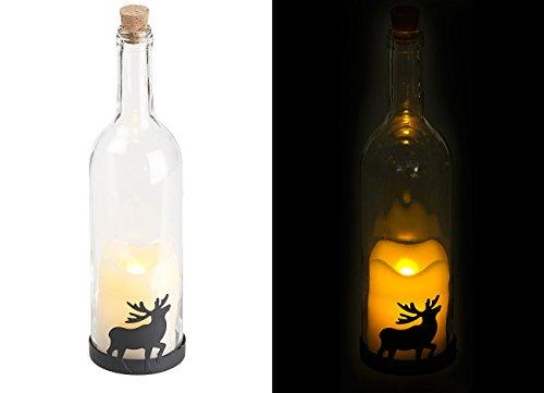 Preisvergleich Produktbild Lunartec LED Flasche: Deko-Glasflasche mit LED-Kerze,  bewegliche Flamme,  Timer,  Elch-Motiv (Glasflasche mit LED Licht)