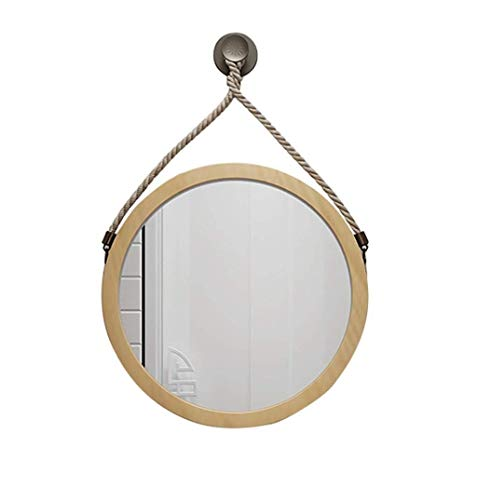 LYMUP Espejo de baño moderno de moda redonda montado en la pared HD espejo de maquillaje de belleza | madera natural color madera estructura de maquillaje espejo agrandar (tamaño : 70 cm)