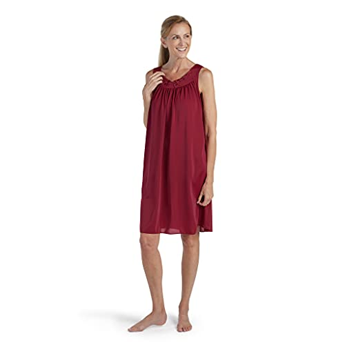 Miss Elaine Nightgown - Women's Short Nylon Tricot Gown, Sleeveless Gown with Petal Embriodery at Round Neck (Small, Dark Cherry)