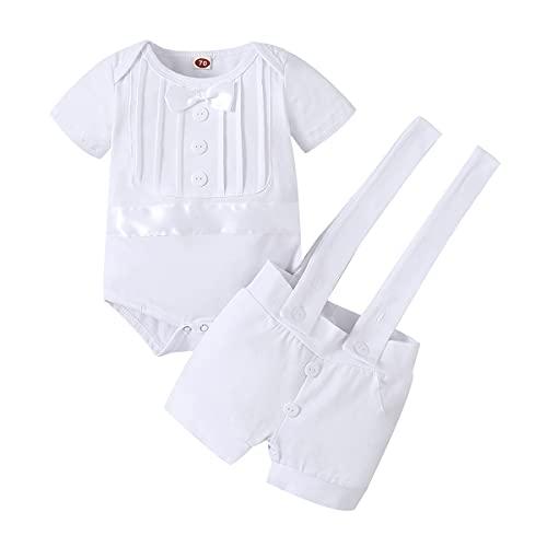 FYMNSI Traje de bautizo para bebé, traje de bautismo, traje de boda, traje de hombre, esmoquin, traje de algodón, tirantes y pantalones, 2 piezas, Blanco, 6-12 Meses