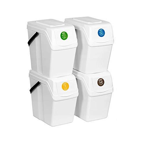 Prosperplast Juego de 4 Cubos de Reciclaje 100L Sortibox de plastico en Color Blanco, 4x25L