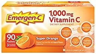 Emergen-C Vitamin C Drink Mix, 1000mg, Super Orange, 90 ct