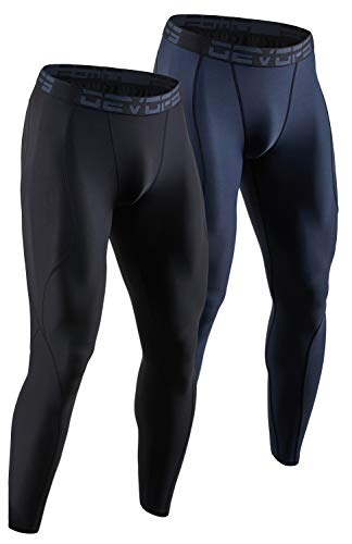 DEVOPS 2 Pack Men's Compression Pants Athletic Leggings (X-Large, Black/Charcoal)