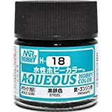 水性ホビーカラー H-18 黒鉄色【メタリック】/ リニューアルパッケージ/GSIクレオス AQUEOUS