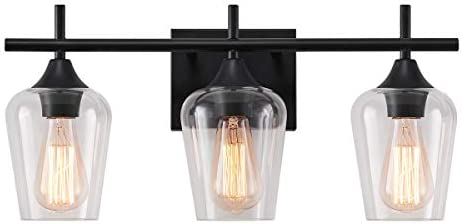 LHLYCLX 3 Light Dimmable Vanity Light Farmhouse Bathroom Glass Shade Black Vanity Lights Over product image