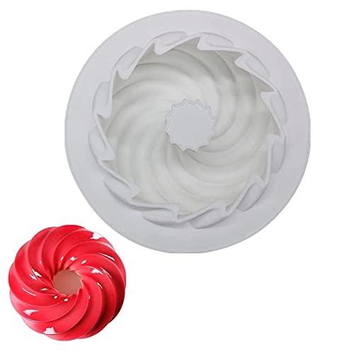 Molde de decoración de pastel de silicona de forma de espiral, para molde de hornear Postre Mousse Pastelería Molde de pastel