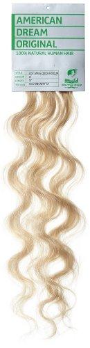 American Dream - A4/QFC12/18/24 - 100 % Cheveux Naturels - Douce Ondultation - Pièce Unique Extensions à Clipper - Couleur 24 - Blond Soleil - 46 cm