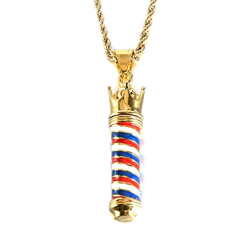 PAURO Unisex Stainless Steel Barber Shop Sign Pendant Turn Light Necklace Gold