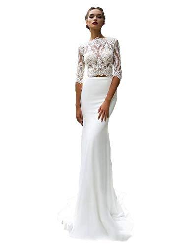HYC Bohemian Spitzen-Hochzeitskleid, lange Ärmel, Strand, zweiteilig, Brautkleid, Landhaus-Hochzeitskleid Gr. 42, Elfenbeinfarben