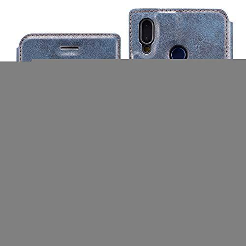 Protector de Pantalla Retro Simple Simple de Cuero magnético Ultrafino con Soporte y Ranuras para Tarjetas y cordón para Huawei Y7 Prime 2019, Zhongxianshangmaoyouxiangongsi (Color : Blue)