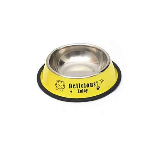Tuzi Qiuge Pet Supplies, Edelstahl Tragbare Fressnapf Anti-Rutsch-und haltbarer Hund Katze Wasser-Schüssel mit Cartoon-Muster, Spezifikation: 22,6 * 29,5 * 7cm (Color : Yellow)