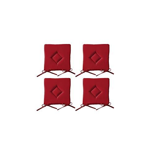 AC-Déco Galette De Chaise - Lot De 4-40 X 40 Cm - Rouge