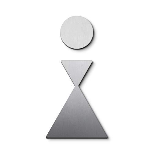 PHOS Edelstahl Design, P0401, WC Türsymbol/Piktogramm Damen, Edelstahl gebürstet, selbstklebend, internationale Design-Auszeichnungen, Toilettenschild, Symbol, Türschild, Geschlechts-Schild