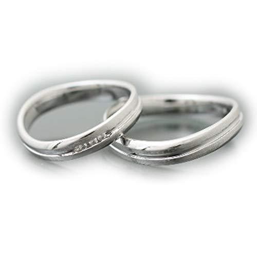 [ココカル]cococaru ペアリング ダイヤリング 2本セット K10 ホワイトゴールド ダイヤモンド マリッジリング 結婚指輪 日本製(レディースサイズ19号 メンズサイズ2号)