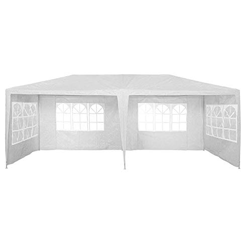Garden Parasols, 3 x 6m Garden Gazebo Marquee Awning Tent, Waterproof Canopy Gazebo Party Tent with Side Panels and Powder Coated Steel Frame, for Outdoor Wedding Garden Party