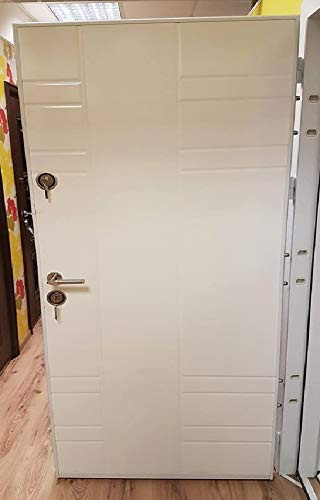 Porta Blindata Ingresso Pl18 Bianca Porta Blindata Da Esterno E Interno Con Cilindro Europeo Pomello Portone Esterno Arredodacasa.com (Apertura interna sinistra)