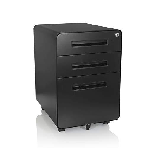 hjh OFFICE 743014 Rollcontainer Color Plus I Stahl Schwarz Schubladenschrank mit Rollen, A4 Hängeregister, abschließbar