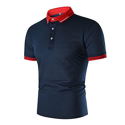 Shirt Hombre Verano Moda Manga Corta Hombre Poloshirt Slim Fit Botón Placket Correr Shirt Básica Elástica Tradicional Camisa Urbana Negocios Casual Escalada Deportiva Camisa H-Red and Blue XL