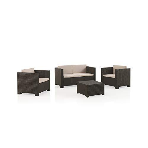 Shaf - Diva | Lounge Gartenmöbel Set 4 Personen | Balkonmöbel Set für Terrasse oder Garten - Wengue