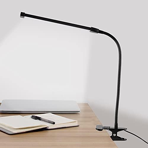 Leselampe Buch LED Klemmleuchte Dimmbar,8W ,3 Modi ,10 Helligkeitsstufen Schreibtischlampe, Buchlampe, USB Betrieben für Nacht Lesen, Kindle, Schlafzimmer, Büro(Schwarz)
