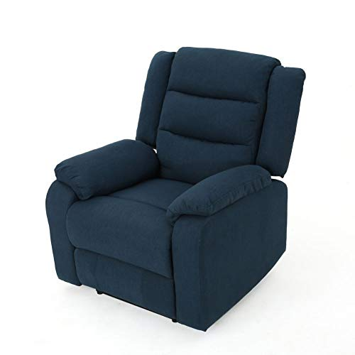 Christopher Knight Home Adrianne Cushioned Fabric Power Recliner, Navy Blue / Black