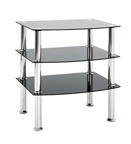 Haku-Möbel 15509 Beistelltisch, Sicherheitsklarglas, Edelstahl-schwarz, 54 x 45 x 61