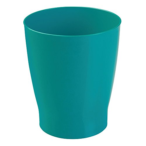 iDesign Franklin Wastebasket Trash Can, Waste Basket Garbage Can for Bathroom, Bedroom, Kitchen, Home Office, Dorm, College, Teal Blue