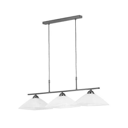 3 luces de techo de cristal blanca cortina de plata satinado pantalla Retro Industrial lámpara moderna Cruz