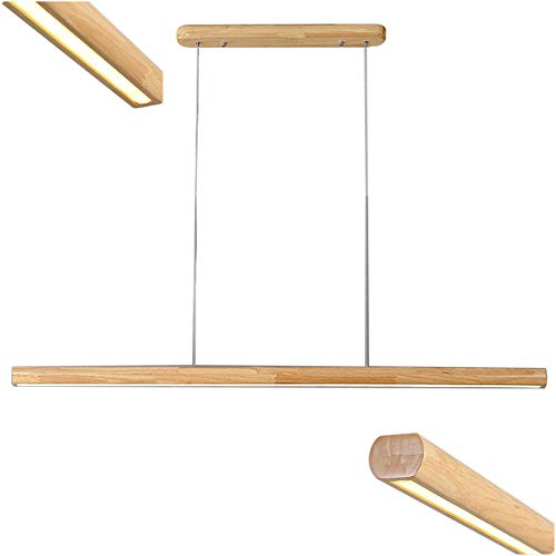 Esszimmer LED Hängeleuchte in Holz Lange 80cm Esstisch Leuchte - Dimmbar Pendelleuchte 32W mit Fernbedienung - Decke Esstischlampe - Hängen Lampe Höheverstellbar - Kronleuchter für Büro Holzlampe