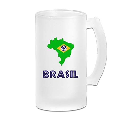 Brasil Soccer Shirt Football Team Jersey Fan Gift Frosted Beer Mugs Glass,Frosted Glass Beer Mugs,Frosted Beer Mug