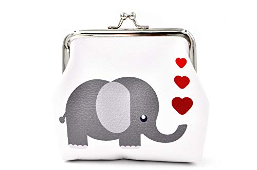 Pu Leather Coin Purse Cute Animal Elephant Wallet Bag Change Pouch Gifts for Women Kids Girls Key Holder
