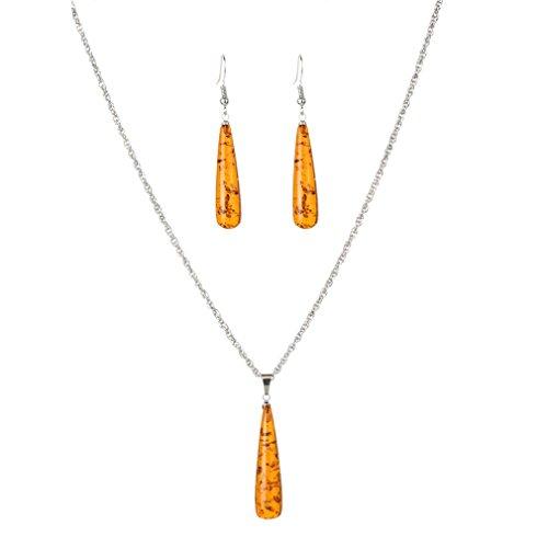 YAZILIND Frauen natürlich orange Bernstein Ohrring Heilung Chakra Reiki-Anhänger Kollier Schmuckset