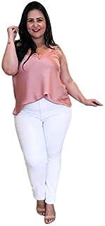 7d6a0957ea90 Calça Jeans Branca Feminina Plus Size Com Lycra