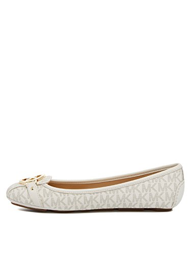 MICHAEL Michael Kors Women's Fulton Moccasin (8.5 M US, Vanilla Mini Mk Logo Coated Canvas)