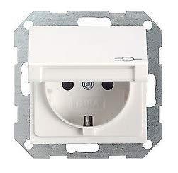 GIRA System 55 Standard E2, Reinweiß glänzend, Steckdose Schalter Rahmen Wippe (045403 Steckdose mit Klappdeckel, 1 Stück)