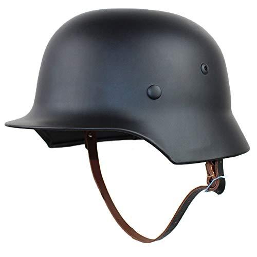 XYLUCKY WW2 Deutscher Stahlhelm M35 mit Netz und Schutzbrille, hochfester Stahlhelm aus dem 2. Weltkrieg mit Lederfutter,Schwarz