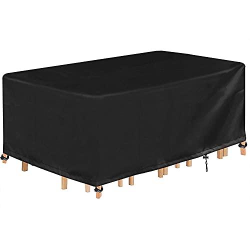 INMUA 파티오 가구 커버 야외 가구 커버 야외 가구용 방수 커버 야외 가구 및 테이블용 헤비 듀티 420D 옥스포드 파티오 세트 커버 90``LX60``WX27.8``H 블랙