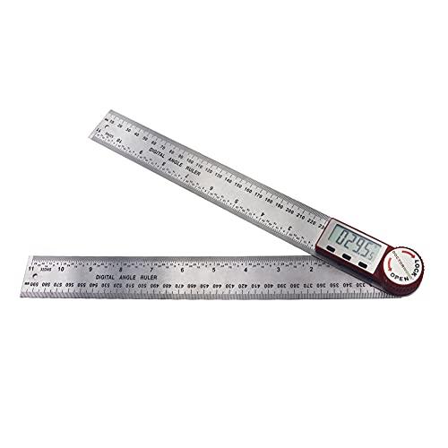 Zwbfu Pantalla LCD de 0~300 mm Regla digital Regla de medición multifuncional de acero inoxble Función de retención Medición de 360 ° Medición inversa Escala de alta definición Longitud