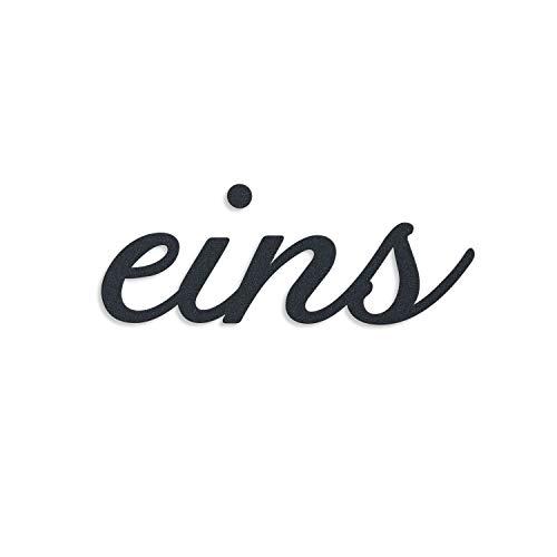 Metzler Edelstahl Hausnummer als Zahlwort - massiver Schriftzug - individuelles Design - rostfrei & robust (Eins, Anthrazit)