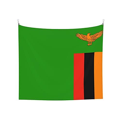 Tapisserie Flagge von Sambia, Wandbehang, Boho, beliebt, mystisch, Trippy, Yoga, Hippie, Wandteppiche für Wohnzimmer, Schlafzimmer, Schlafsaal, Heimdekoration, schwarz & weiß Stranddecke